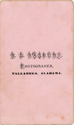 R. L. Rasbury,  photographer, Talladega, AL - back only