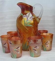 (Enameled) Iris 7pc. water set, marigold