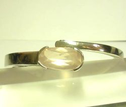 09-00125c Rose Quartz Faceted Sterling Cuff Bracelet