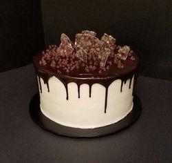 Chocolate Ganache Drip cake with chocolate Bark