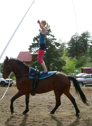 May: Training in Golden, Colorado, USA - Angelique practicing the Stand on Oliver