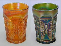 Butterfly and Berry tumbler, marigold and green