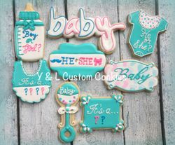 Baby Shower Custom Cookies Gender Reveal