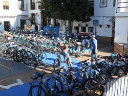 Riders leaving Comares main square