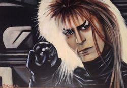 """David Bowie"", ""Labyrinth"", ""Jareth the Goblin King"", ""Actor"", ""Musician"", ""Singer"", ""Ziggy Stardust"", ""Jim Henson"",acrylic on canvas By Fin Collins, part of The Film Icons Collection www.filmiconsgallery.com"