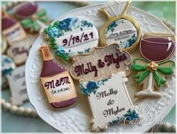 Wine Themed Bridal Shower Decorated Cookies