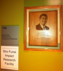 Plaque outside of the Sho Funai Impact Research Facility