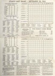 Stan Musial Last Game Scorecard - Original Unscored with Stan's Last Game- Printed On Scorecard-September 29, 1963