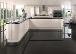 COLONIAL INTEGRA GLOSS OYSTER (PALE CREAM) HANDLELESS KITCHEN