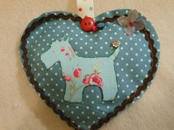 Turquoise Scottie Dog Love heart