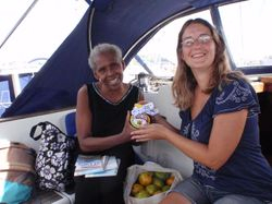 Presenting Annette with the marmite that has sailed 6000 miles from England