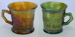 Orange Tree mugs shaving and standard size in amber and aqua