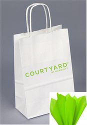 Courtyard Gift Bags with Lime Tissue - NEW 2019 Logo - DISCOUNTED to just .50 cents each! - Limited Supply
