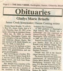 Brindle, Gladys Marie Shultz 1997