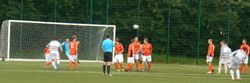 ROSS TRIES HIS LUCK FROM A FREE KICK