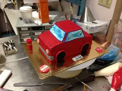 Little Red Car Cake
