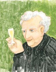 WineConnoiseur, Oil Pastel, 11x14, Original Sold
