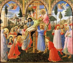 Fra Angelico, Descent from the Cross, c. 1430, altarpiece in sacristy at S. Trinita, Florence