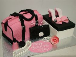 Pink Bag, Shoe and shoe box and Purse Cake (SP007)