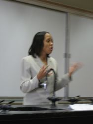 Ms. Zavi Baynes addresses the crowd