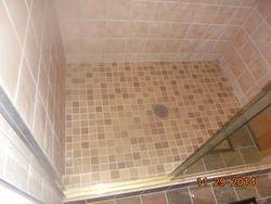 Installed shower pan