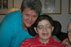 Aimee and Gail Inderwies, saying goodbye, after Aimee's 1st stay at Keystone Hospice, July 10, 2006........