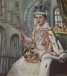 """Queen Elizabeth"", ""The Coronation of Queen Elizabeth"", ""portrait of Queen Elizabeth"", oil on canvas by Fin Collins, http://www.filmiconsgallery.com"