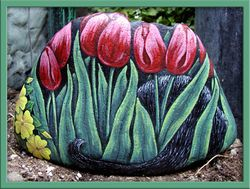 Black Cat in Tulips - Back