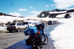 Tom's K75RT in the snow at Charlottes Pass - Oct 1996
