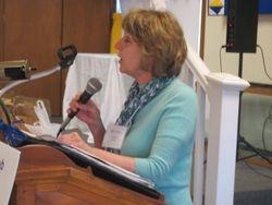 Carole O'Hara introducing speaker Steve White