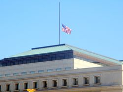 North Flagpole of Thurgood Marshall Federal Judiciary Building at Half Staff in Honor of Lying in Repose of Associate Supreme Court Justice Ruth Bader Ginsburg from Southwest
