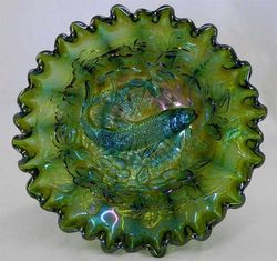 Big Fish deep crimped bowl, green radium