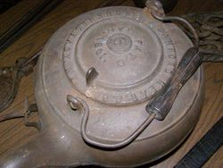Cast iron kettle made in a Schenectady Iron factory.