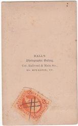 Hall, photographer of Royalton, VT - back