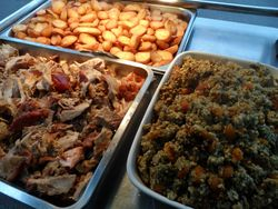 Roasters stuffing and pork