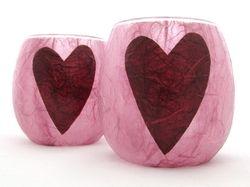 Rose Pink and Burgundy Folk Heart
