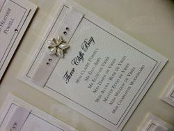 Ribbon and Pearl Diamante Music Table Plan