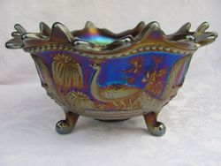 Peacock at the Fountain, orange/fruit bowl, purple