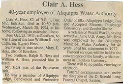 Hess, Clair A. 1994