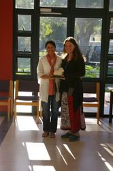 "Razaan Jakoet, the winner of the ""Felting"" category receiving the trophy from Nikki Christodoulides"
