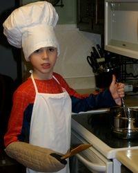 Boy in chef's hat