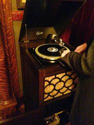 A working Edison record player.