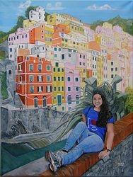 Barbara, sitting on a wall