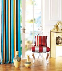 Blue Silk Satin Stripe Blackout Curtains & Drapes-132L