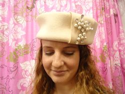 Vintage Creme Wool with Pearl & Rhinestone Pill Box Style