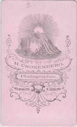H. Cronenberg, photographer, Wilmington, NC - back