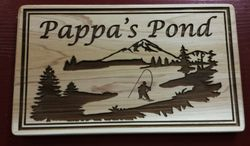 Fishing Pond Cedar Sign