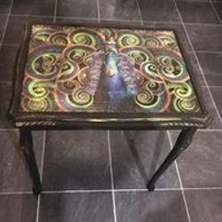 Decoupaged steampunk peacock design table