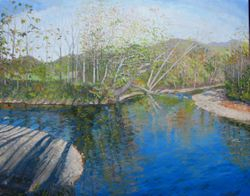 "Maury River Confluence, oil/linen, 24 x 30"" - sold"