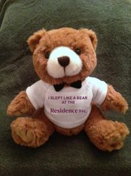 "Teddy Bears, Plush. - ""I SLEPT LIKE A BEAR AT THE RESIDENCE INN"" - 9"" Tall.  Makes a special gift"